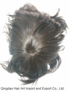Mono Base PU Coated Around Indian Remy Hair Men′s Toupee pictures & photos