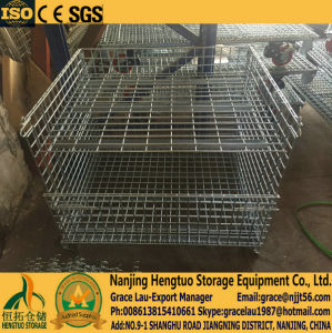 Folding Collapsible Steel Wire Mesh Pallet Cage with Separators for Storage, Wire Mesh Basket Container Cage pictures & photos