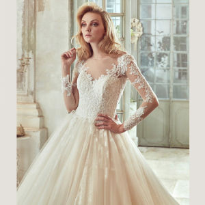 Sleeves Bridal Ball Gowns Backless Lace Tulle Wedding Dress Tb189 pictures & photos