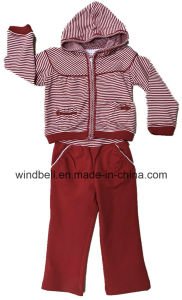 Yarn Dye Striped Suit for Baby Girl with Cotton Lace pictures & photos