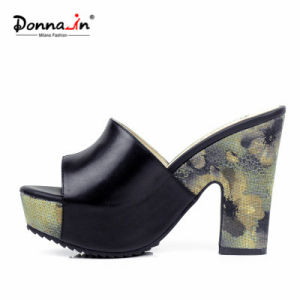 Lady Casual Leather Floral Weave Platform High Heels Women Sandals pictures & photos