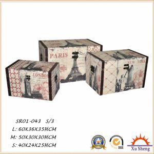 Home Furniture Wooden Storage Gift Box Set of 3 Wooden Trunk with Union Jack  pictures & photos