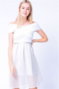 Banded off Shoulder Fit and Flare Shimmer Women Dress pictures & photos