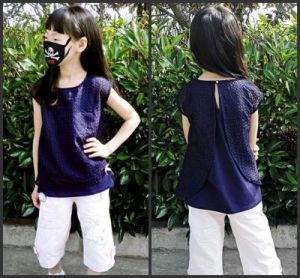 Organza &Cotton Knitted T-Shirt for Girls pictures & photos