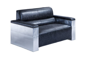 Vintage Aluminum Covering with Italian Leather Leisure Living Room Sofa Set pictures & photos