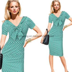 Two Color Women`S Polka Dots Dress