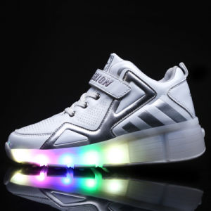 LED Light Running Shoes with Single Wheel LED Light Cool Flash Retractable Roller Shoes for Men and Women pictures & photos