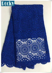 Blue French Fabric Polyester Lace Embroidery Fabric for Garment