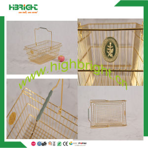 Golden Metal Shopping Basket with Plastic Handle pictures & photos