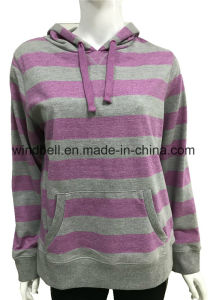 Comfortable Terry Hoody for Girl with Yarn Dye Striped and Kangaroo Pocket pictures & photos
