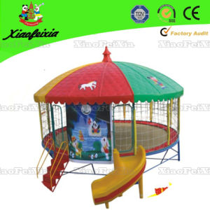 Outdoor Round Trampoline with Slide for Children (LG068) pictures & photos