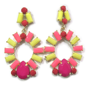 Fashion Jewelry Yellow and Pink Resin Drop Earrings, Gold Plating and Alloy (HER-11195)