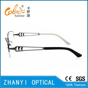 Retro Style Semi-Rimless Titanium Optical Glasses Frame Eyeglass Eyewear (T453-EW) pictures & photos