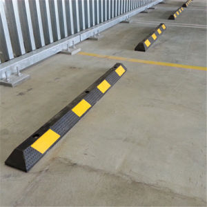 Rubber Car Parking Safety Wheel Stopper with Yellow Reflector pictures & photos