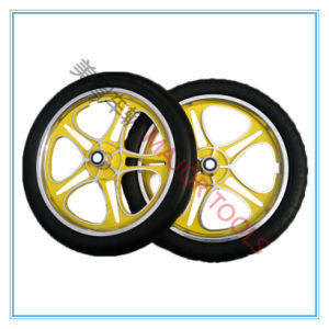 16 Inch PU Foam Tour Bicycle Tyre with Yellow Aluminum Rim pictures & photos