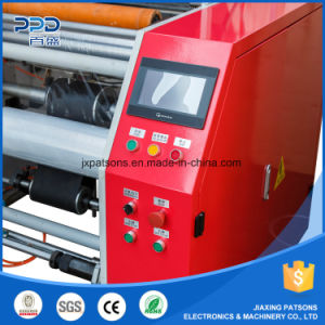 Hot Selling 3 Shaft Electrical Small Roll PE Stretch Film Rewinding Machinery pictures & photos