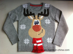 Boys Reindeer Intarsia - True Knitted Sweater pictures & photos