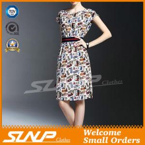 2016 Women′s Short Sleeve Dress/Skirt with Waist Belt