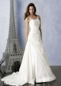 Tulle Scoop Taffeta Wedding Wear, Bridal Gown Dress (C5033)