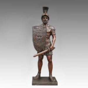 Large Figure Statue Sword Warrior Bronze Sculpture Tpls-095