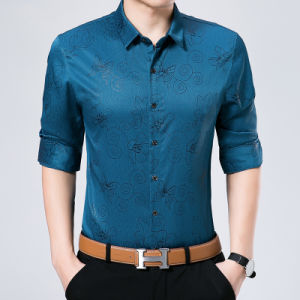 Silk Cotton Printed Business Long Sleeve Men Shirt pictures & photos