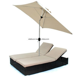 Dual Chaise Double Lounge Chair Furniture with Umbrella pictures & photos