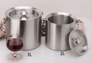Stainless Steel Double Wall Ice Bucket with Lid (JX-039)