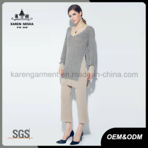 Women Ribbed V Neck Long Sleeve Side Slit Tunic Knitwear pictures & photos