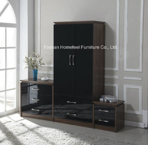 3 piece high gloss bedroom combi wardrobe dresser set
