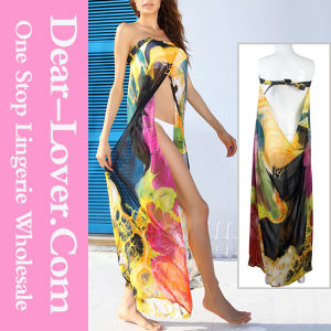 Fashion Yellow Floral Print Chiffon Beachwear pictures & photos