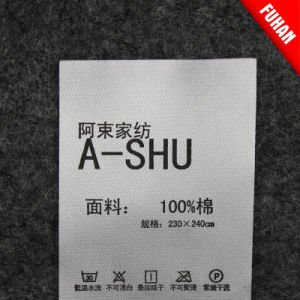 Hangzhou Fuhan Factory Directly Print Wash Care Label for Clothing pictures & photos