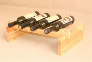 Natural Color Pine Wood Wine Rack with Size Custom Made pictures & photos