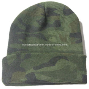 OEM Produce Camouglage Logo Printed Knitted Acrylic Customized Beanie Sports Cap pictures & photos