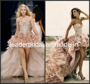 Strapless Pink Tulle Lace Feather A-Line Hi-Low Bridal Wedding Dress (H1387) pictures & photos
