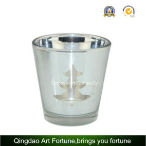 Laser Electroplating Glass Candle Holder for Christmas Decoration pictures & photos