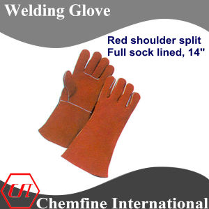 Red Shoulder Split, Full Sock Lined Leather Welding Glove pictures & photos