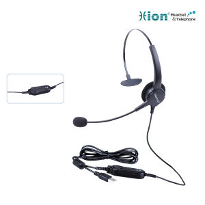 Monaural Noise Canceling Microphone Call Center Headset with USB Plug
