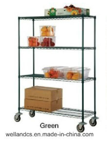 Adjustable 4 Tiers Commercial Kitchen Fruit and Vegetable Metal Storage Rack Shelf pictures & photos