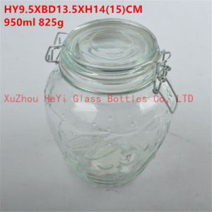 Glass Container Seal Glass Jar with Glass Lid 950ml