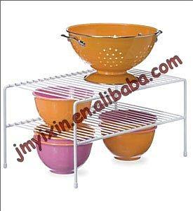 White Wire Kitchen Cabinet Dish Plate Holder Storage Rack (K1003)