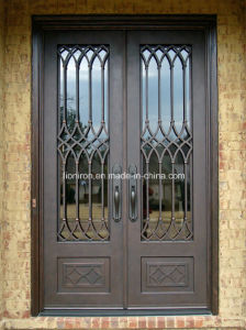 Wought Iron Square Top with Sidelights Front Entry Door pictures & photos