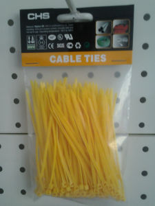 Head Card Packed Nylon Cable Ties in Yellow Color pictures & photos