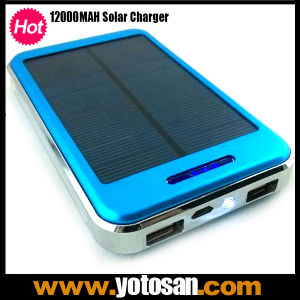 Portable Solar Panel Power 12000mAh Dual USB Port External Battery Charger for Mobile Phone