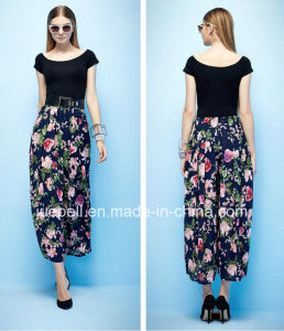 Lasted Design High Waist Chiffon Printing Pants pictures & photos