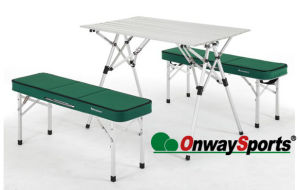 Patent Folding Family Picnic Table with Two Bench