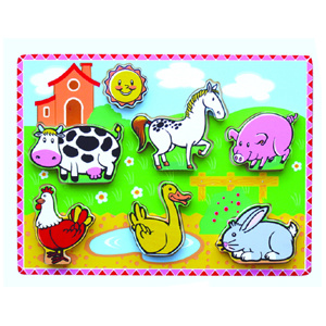 Wooden Thick Puzzle Toy for Baby with Farm Animals (80496) pictures & photos