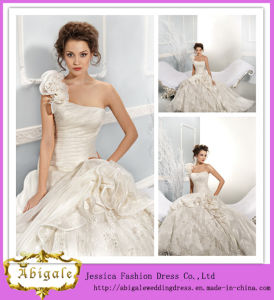 Luxurious Ivory Floor-Length a-Line One-Shoulder Strapless Organza and Lace Wedding Dress 2014 (AL20050)