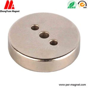 Disk NdFeB Permannent Magnet with Three Countersunk Holes