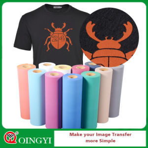 Qingyi High Quality Flock Heat Transfer Films for T-Shirt pictures & photos