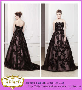 2014 New Ball Gown Black Tulle Lace Appliques Strapless Sleeveless See Through Lace Beaded Evening Gown Yj0060